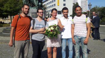 Claudia Eckert-Meisters und spanische Azubis in Magdeburg
